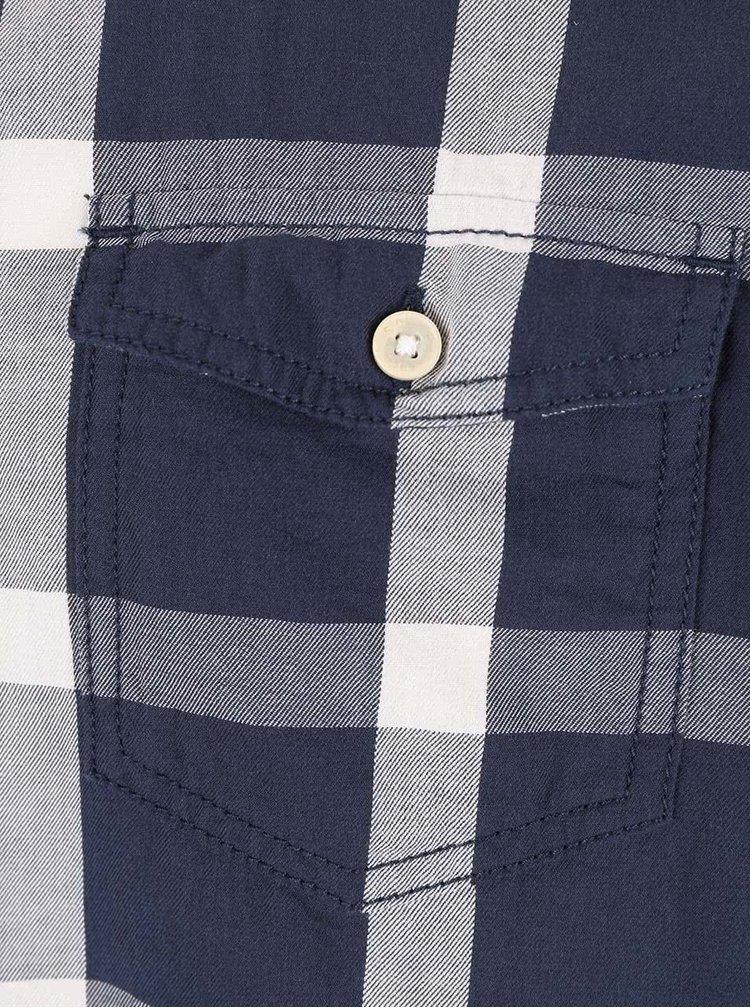Krémovo-modrá pánská kostkovaná košile s.Oliver