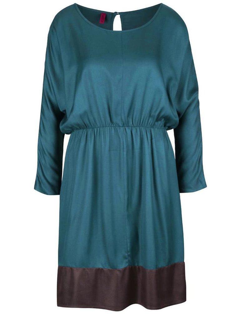 Petrolejové šaty s hnědým lemem Tranquillo Osmina