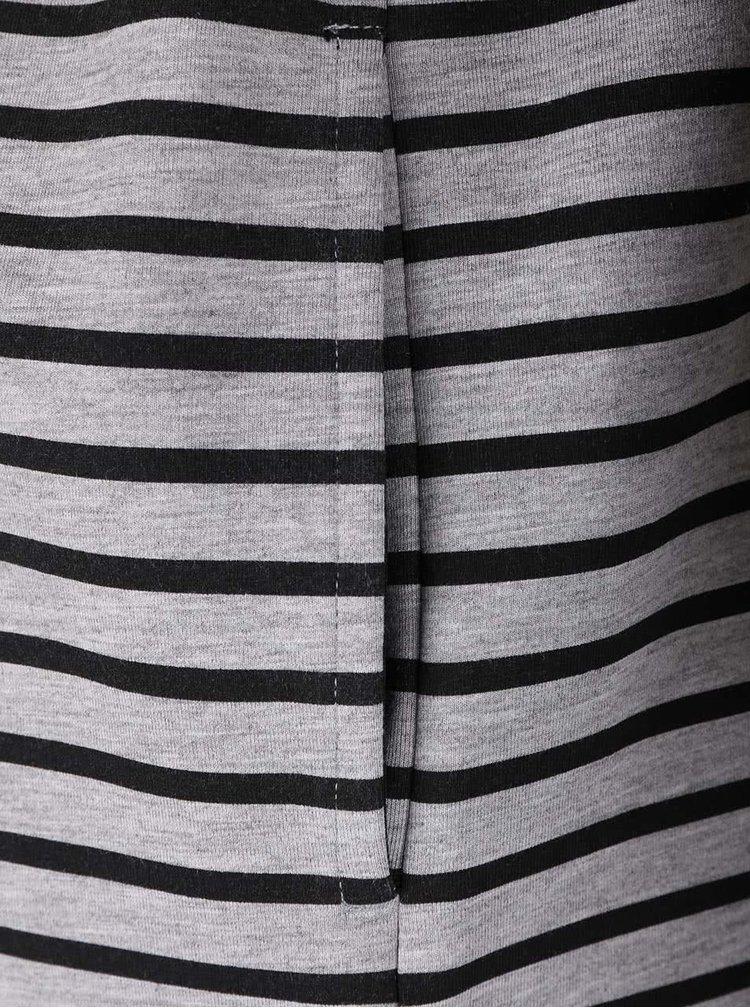 Černo-šedý pruhovaný delší blejzr se zapínáním na zip VILA Tinny