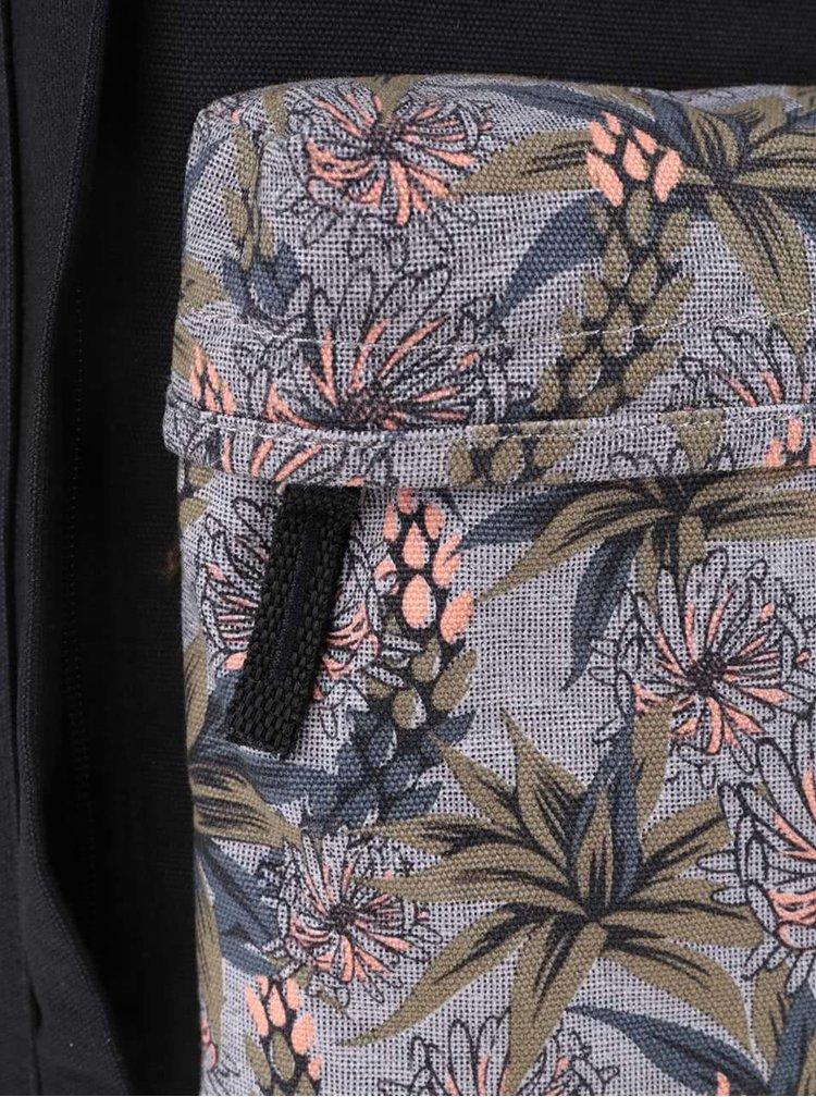 Rucsac negru Vans Icono Square cu imprimeu tropical pentru femei