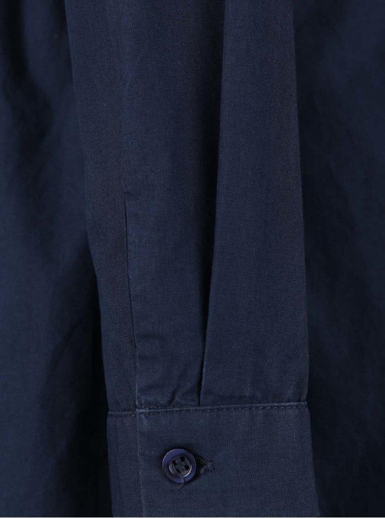 Tmavomodré košeľové šaty s dlhým rukávom VILA Saga