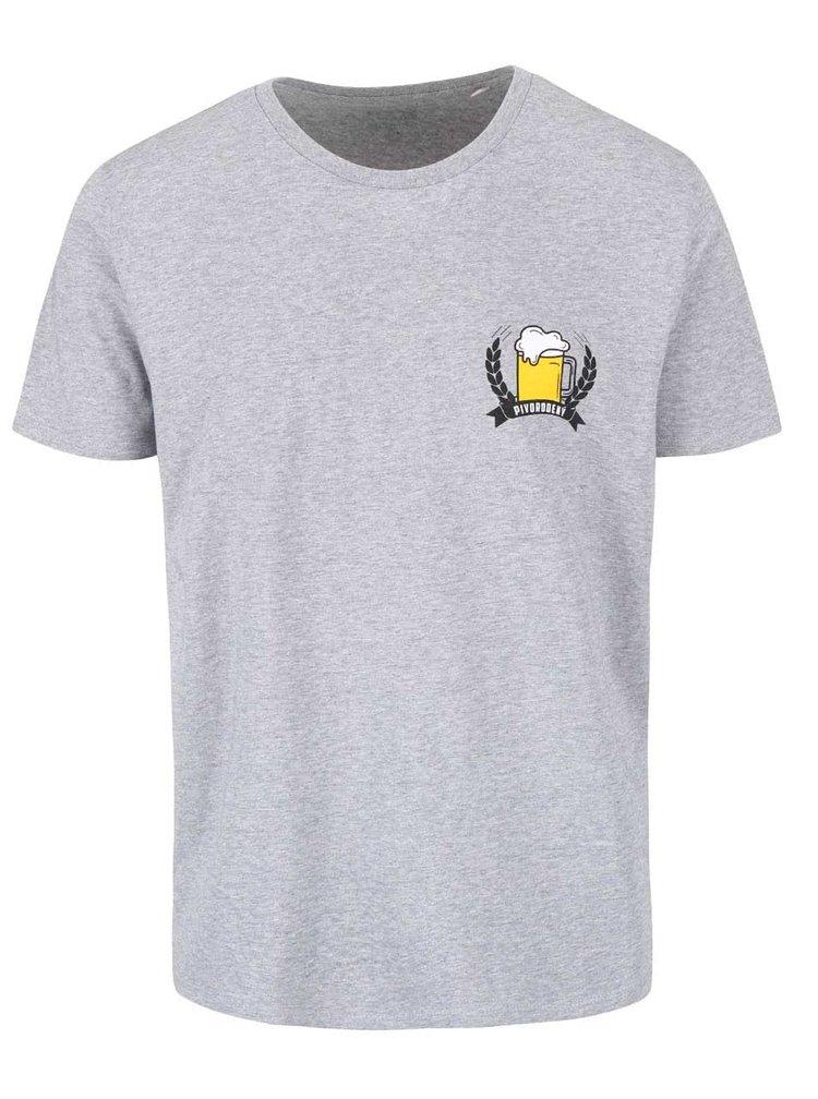 Šedé žíhané pánské triko s potiskem ZOOT Originál Pivorodený