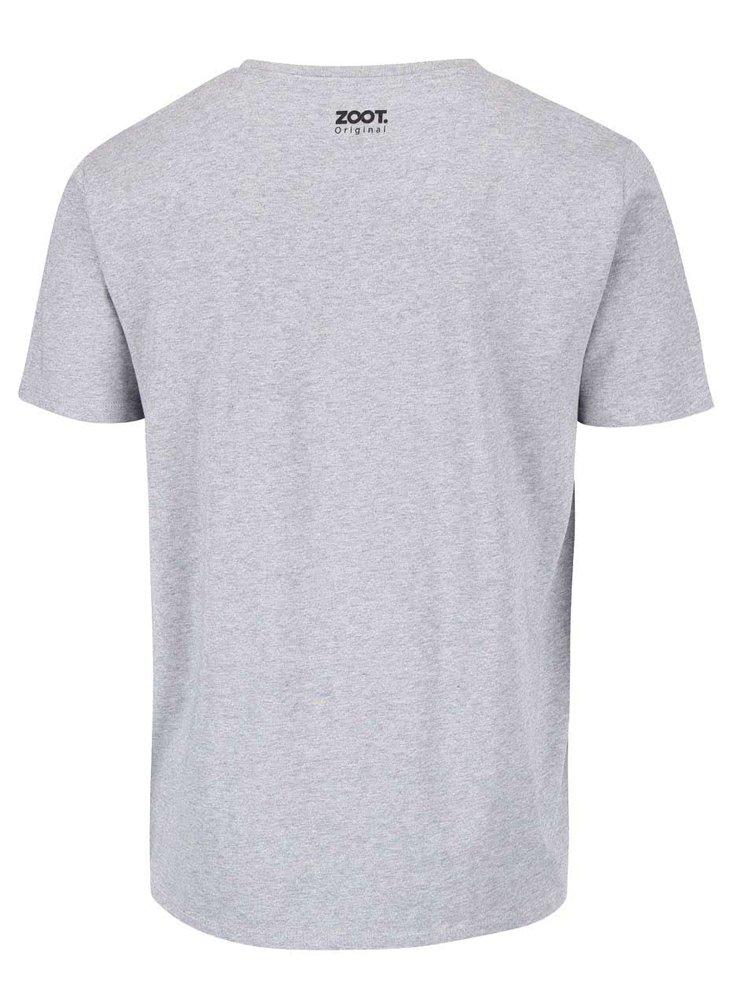 Sivé melírované pánske tričko s potlačou ZOOT Originál Pivorodený