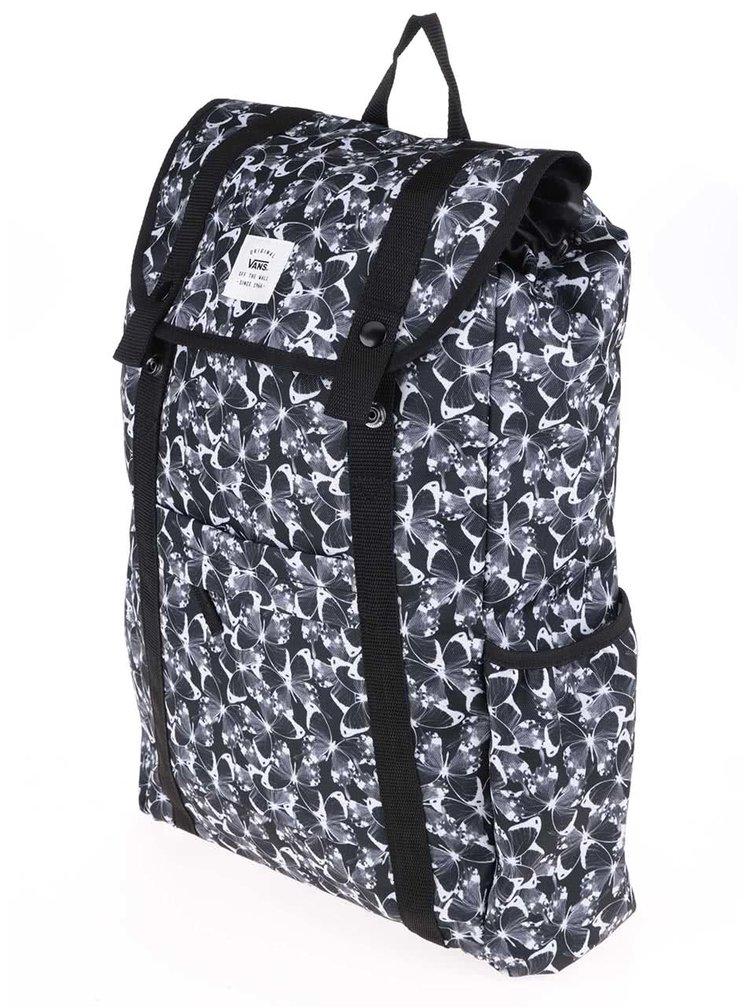 Černý dámský batoh s motivem motýlů Vans Caravaner