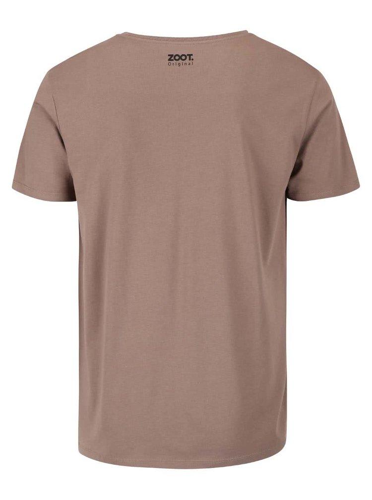 Hnědé pánské tričko ZOOT Originál Nakrmit