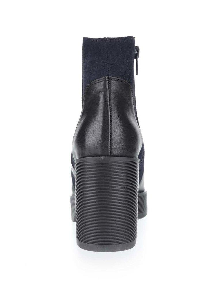 Modro-černé kožené kotníkové boty se semišovými detaily OJJU
