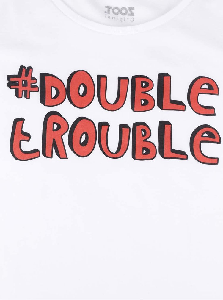 Biele dámske tričko s potlačou ZOOT Originál Double Trouble