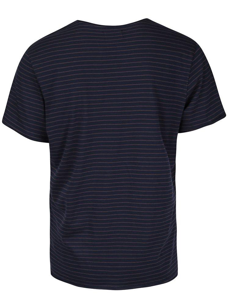 Tmavě modré pánské pruhované triko Casual Friday