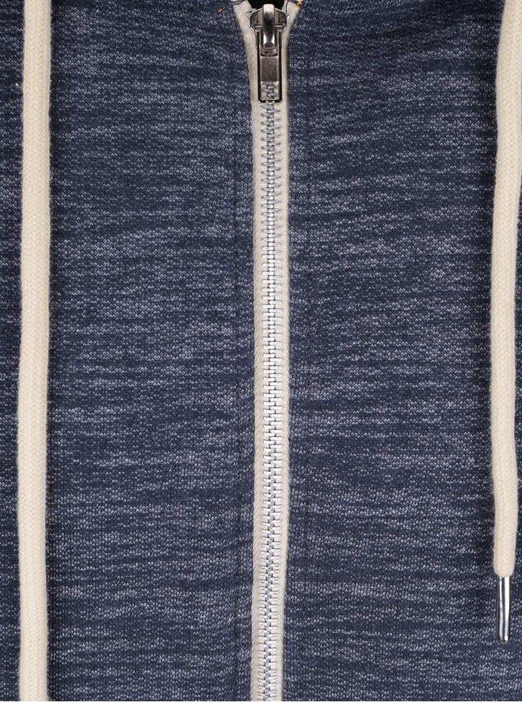 Tmavě modrá žíhaná mikina na zip s kapucí Blend