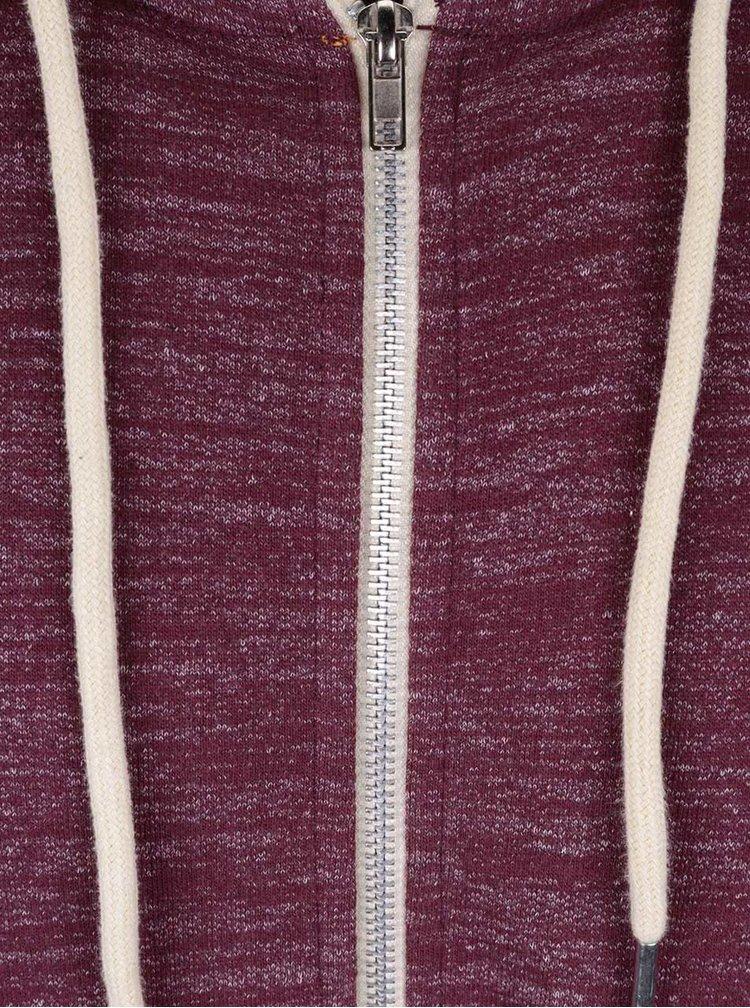 Vínová melírovaná mikina na zips s kapucňou Blend