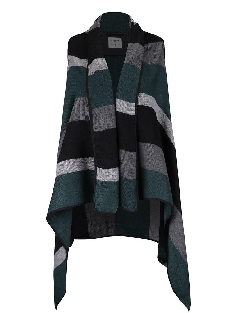 Sivo-zelená pruhovaná vesta s cípmi VERO MODA Centro