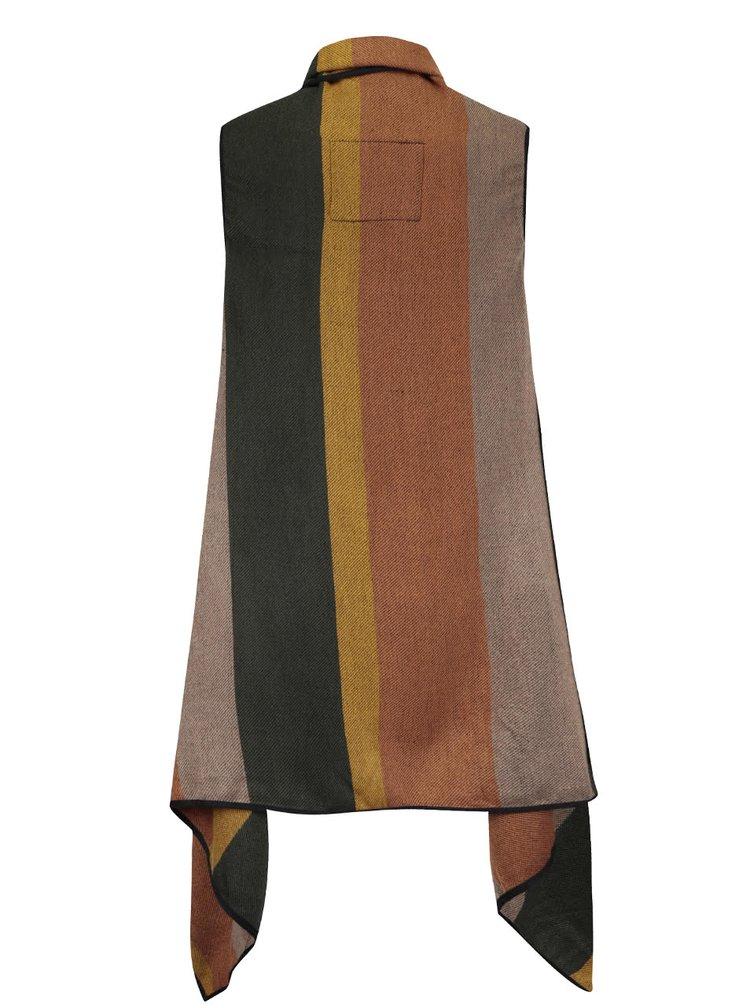 Hnědo-zelená pruhovaná vesta s cípy VERO MODA Centro