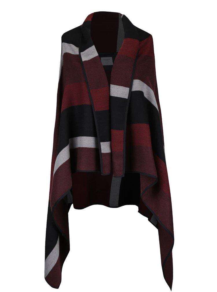 Černo-vínová pruhovaná vesta s cípy VERO MODA Centro