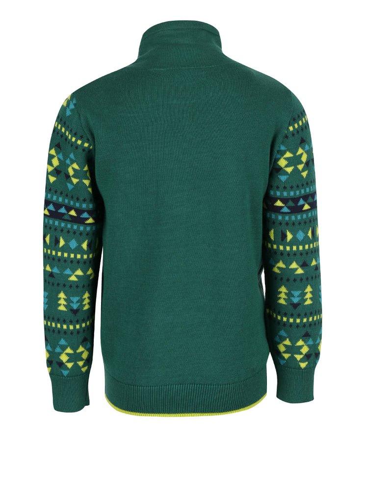 Tmavozelený chlapčenský sveter s rolákom Blue Seven