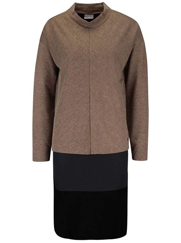 Hnedý melírovaný dlhý sveter VERO MODA Nora