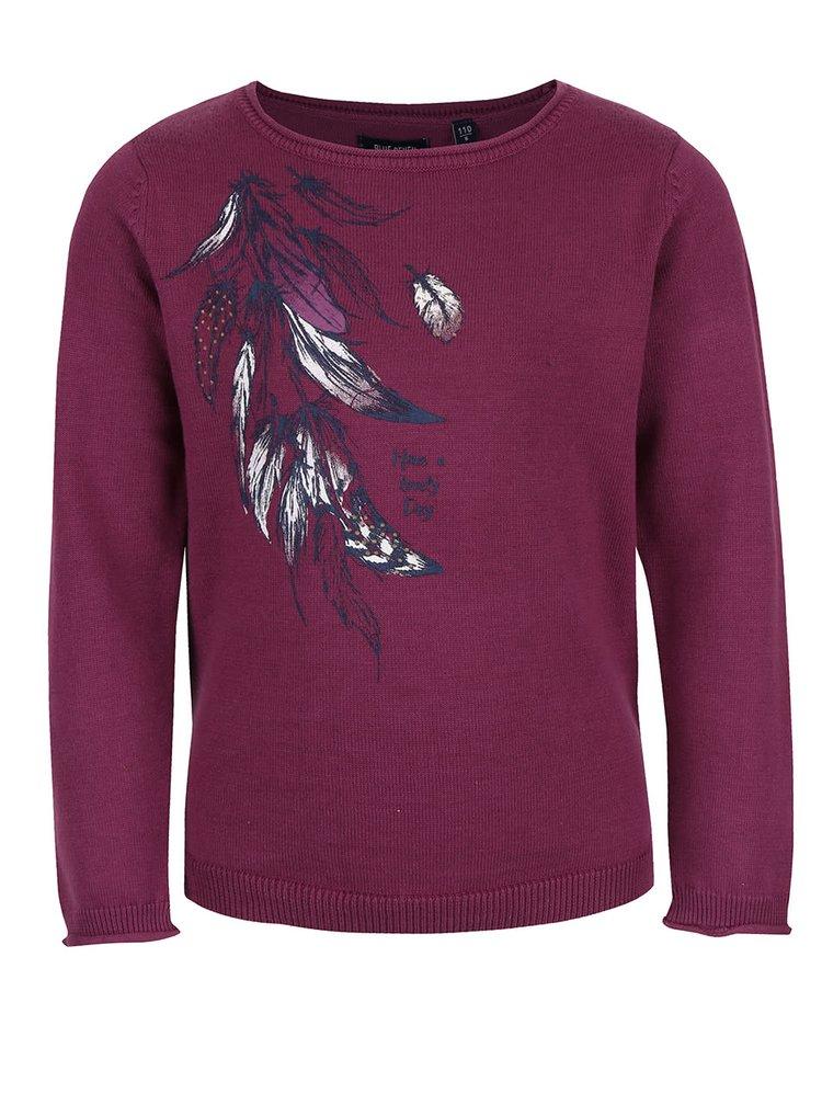 Fialový dievčenský sveter s pierkami Blue Seven