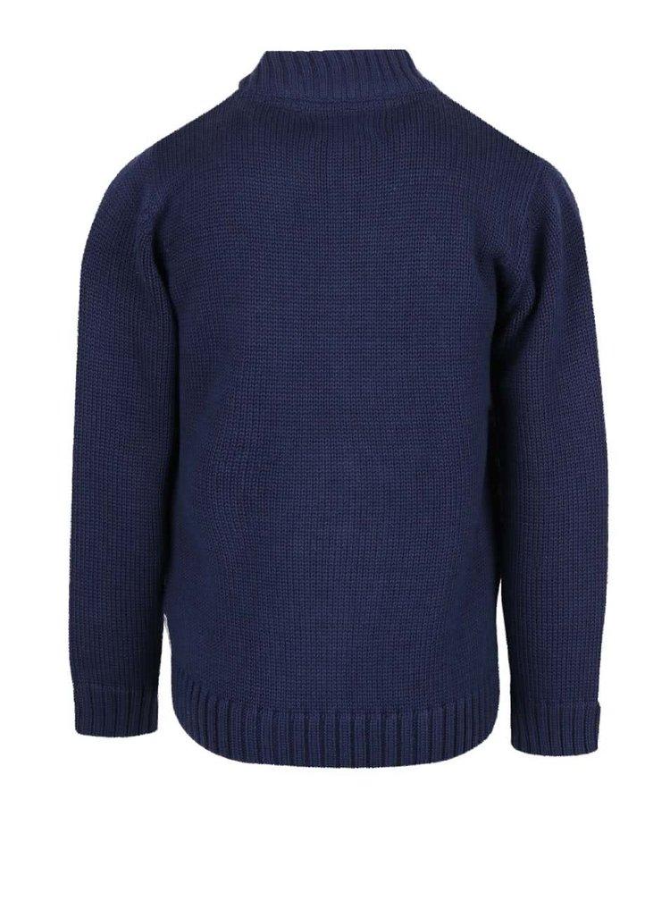 Tmavě modrý klučičí pruhovaný svetr na zip Blue Seven