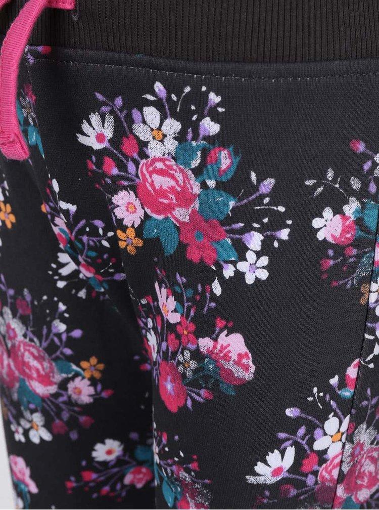 Tmavosivé dievčenské tepláky s kvetovaným vzorom Blue Seven