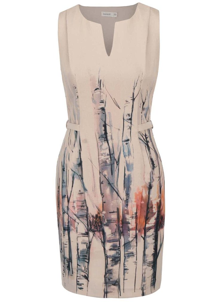 Béžové šaty s potiskem a páskem Lavand