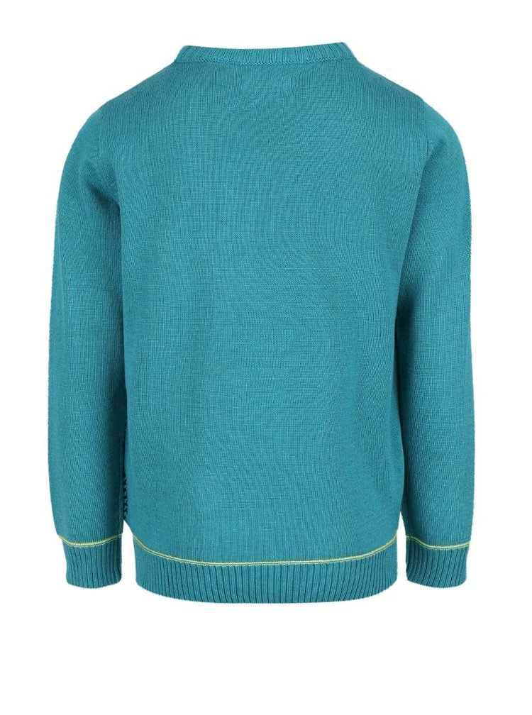 Černo-tyrkysový klučičí žíhaný svetr Blue Seven