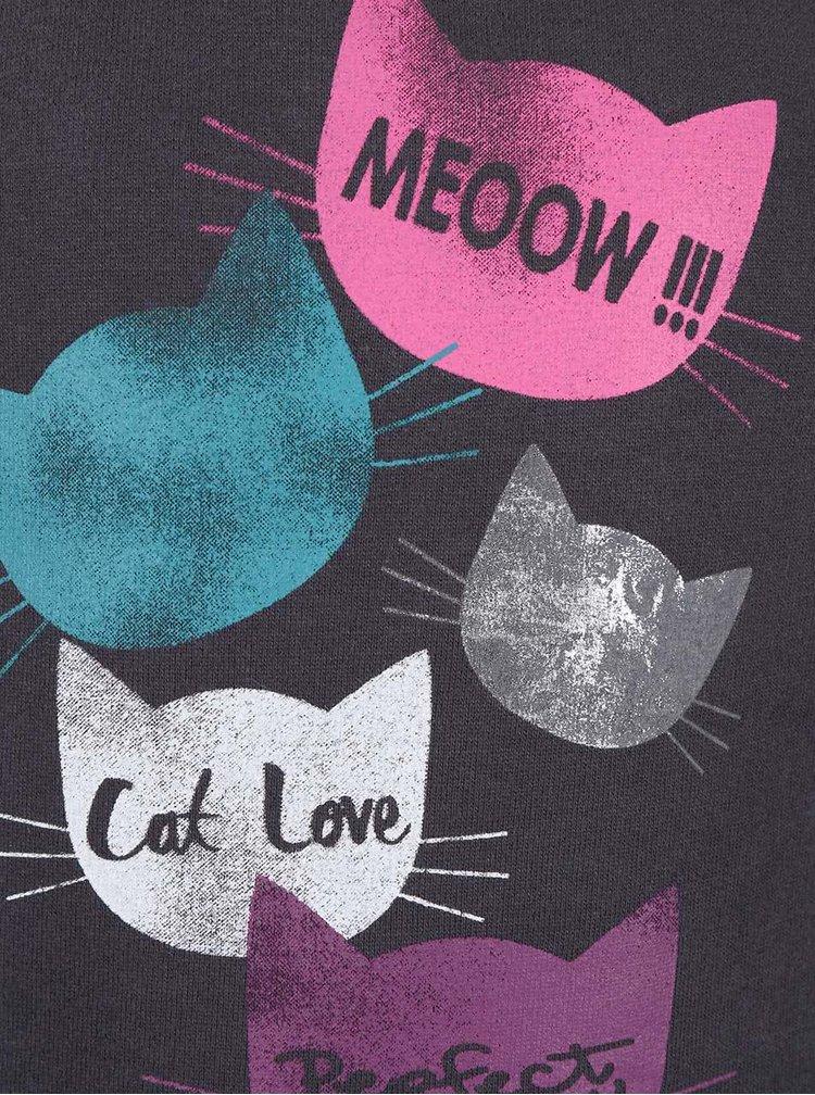 Tmavě šedá holčičí mikina s potiskem koček Blue Seven