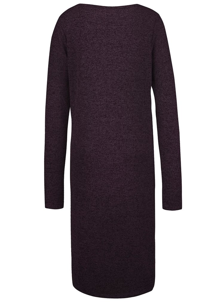 Tmavě vínové dlouhé žíhané svetrové šaty Noisy May Peach