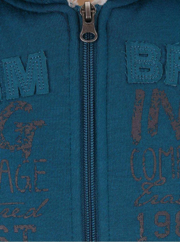Petrolejová klučičí mikina na zip s umělým kožíškem Blue Seven