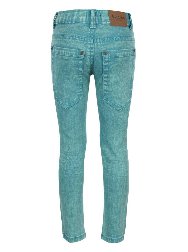 Tyrkysové klučičí džíny s vyšisovaným efektem Blue Seven