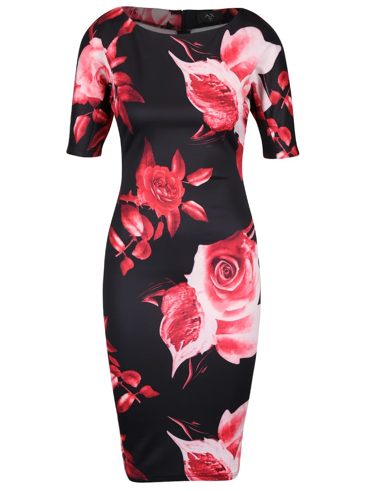Rochie midi neagră AX Paris cu model floral roșu