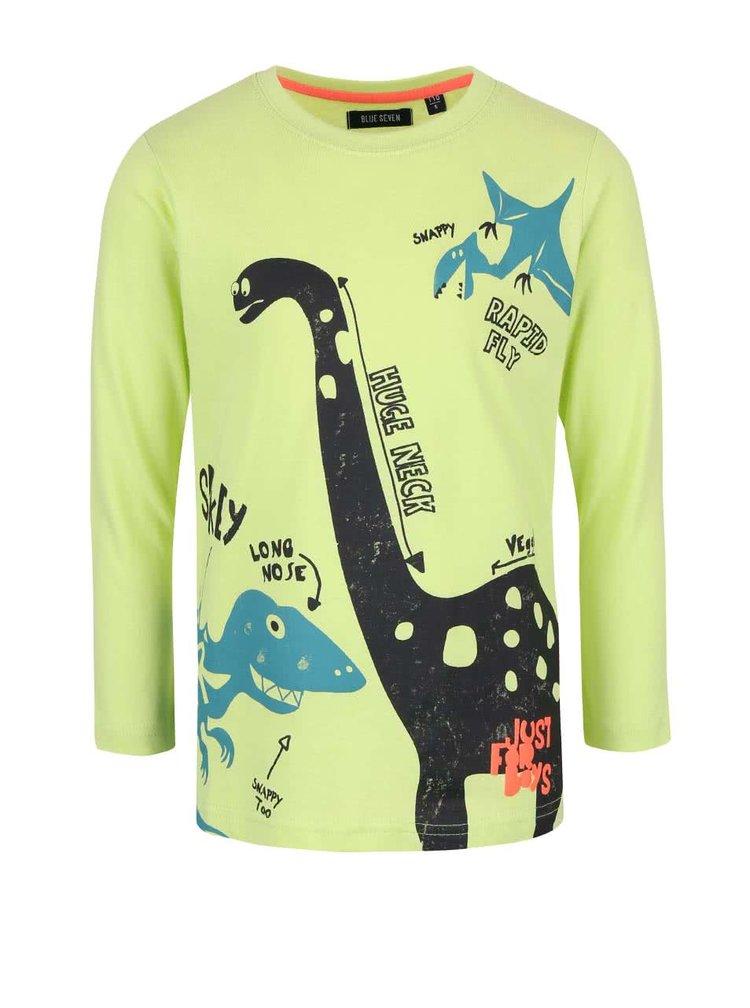 Zelené klučičí triko s potiskem dinosaurů a dlouhým rukávem Blue Seven