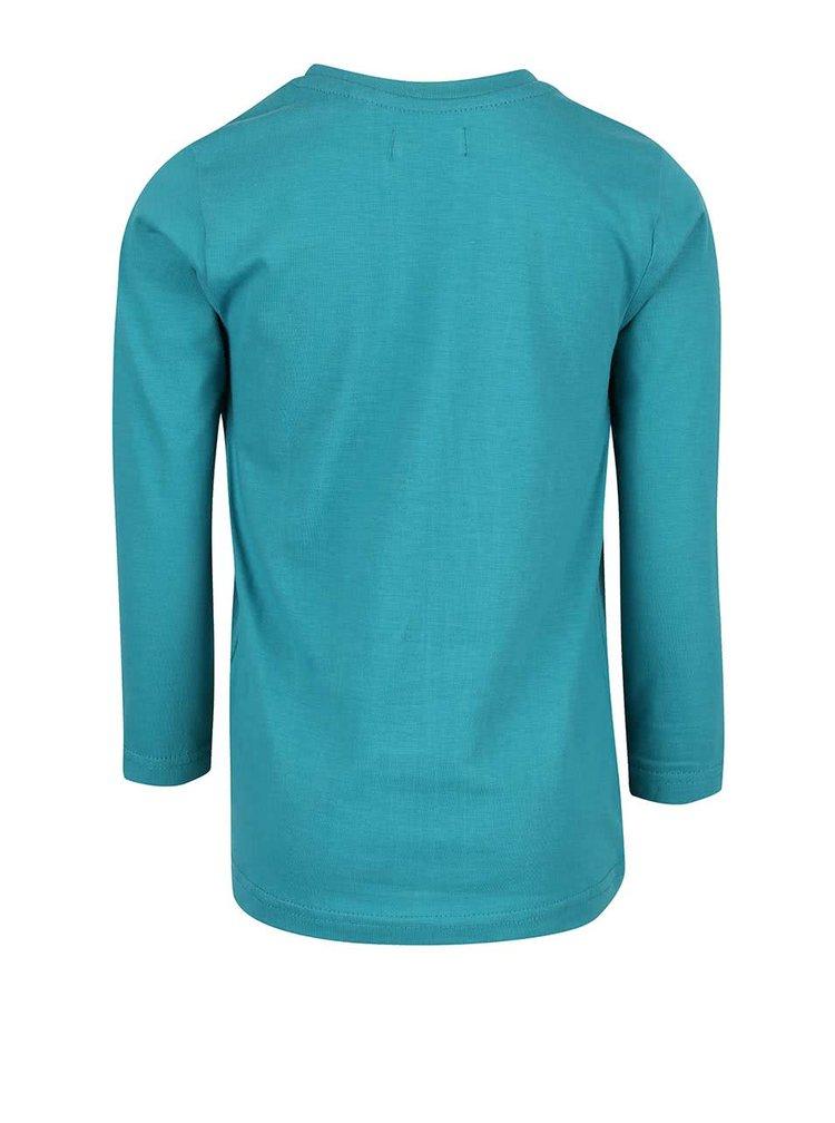Tyrkysové klučičí triko s potiskem a dlouhým rukávem Blue Seven