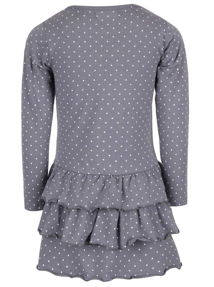 Sivé dievčenské bodkované šaty s potlačou Blue Seven