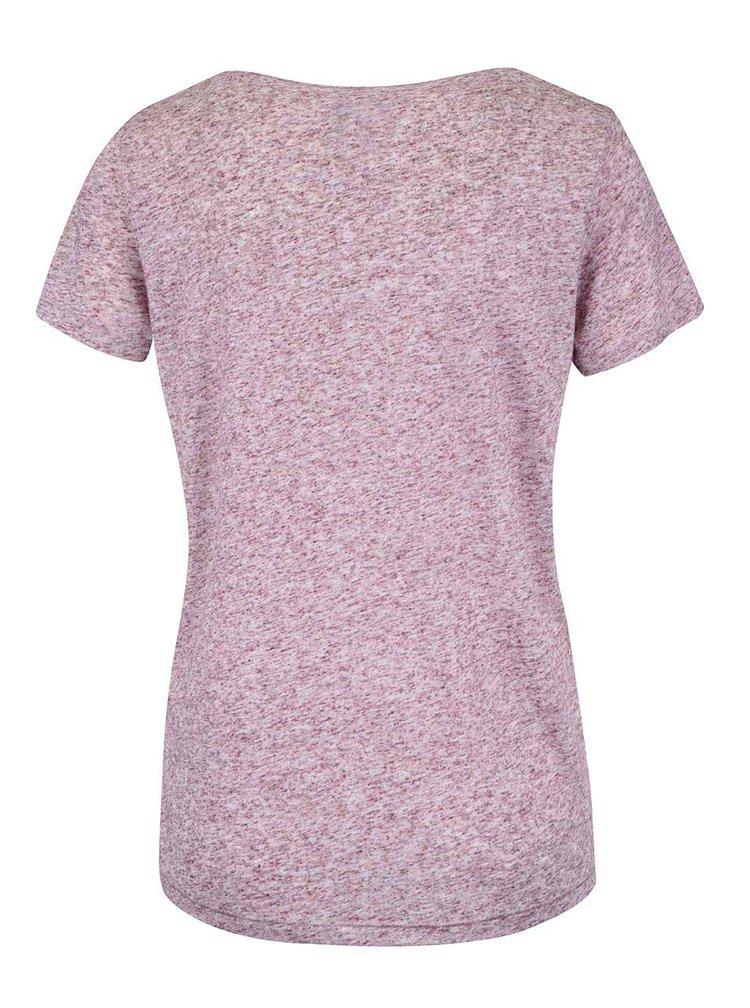 Vínové melírované tričko s potlačou VERO MODA Charlotte
