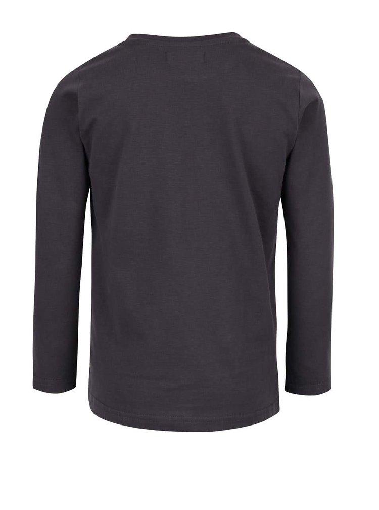 Tmavě šedé klučičí triko s potiskem a dlouhým rukávem Blue Seven