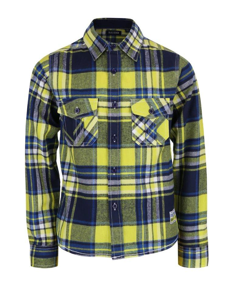 Modro-žlutá klučičí kostkovaná košile Blue Seven