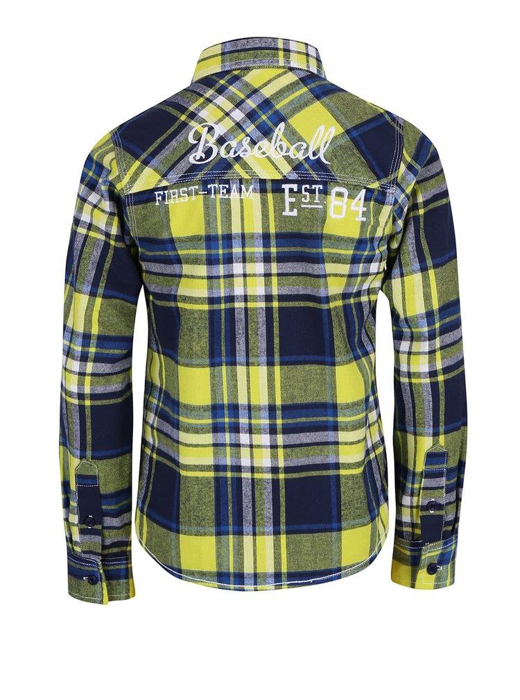 Modro-žltá chlapčenská károvaná košeľa Blue Seven