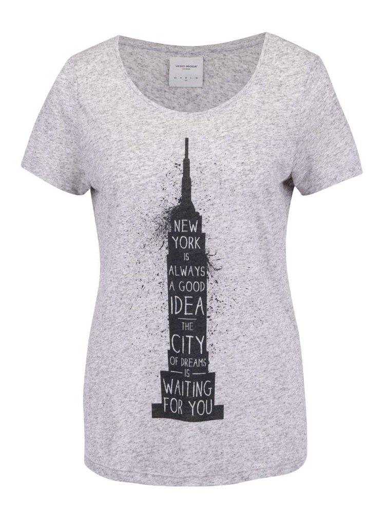 Světle šedé žíhané tričko s potiskem VERO MODA Charlotte
