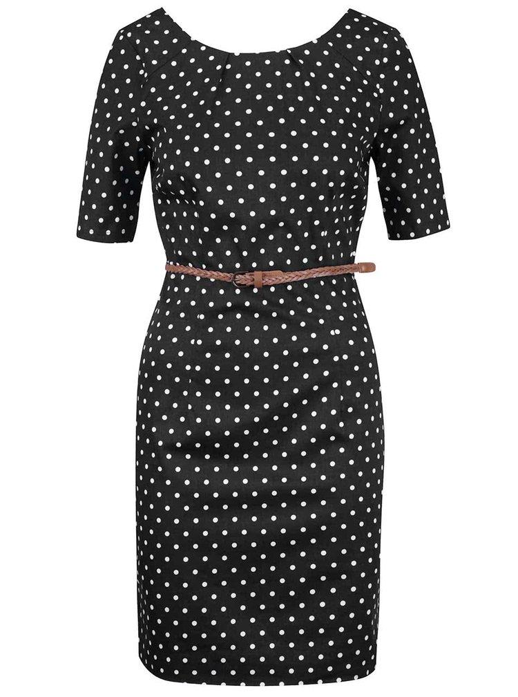 Černé puntíkované šaty s páskem VERO MODA Kaya