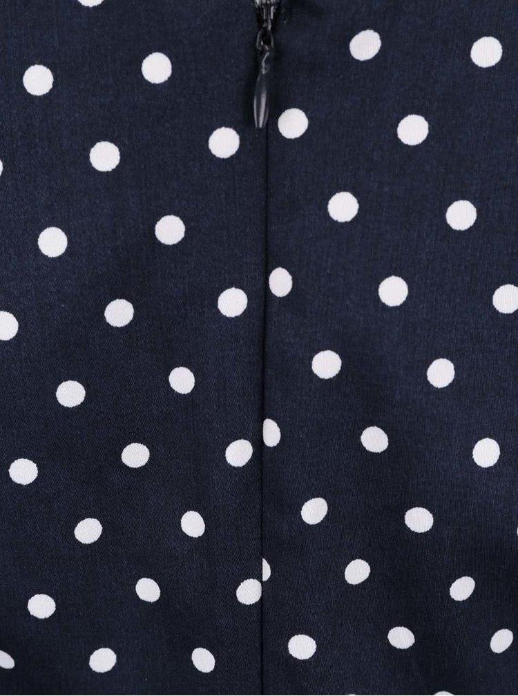 Tmavomodré bodkované šaty s opaskom VERO MODA Kaya