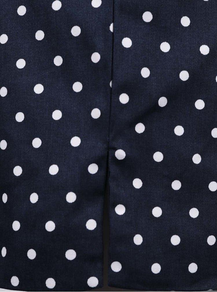 Tmavě modré puntíkované šaty s páskem VERO MODA Kaya