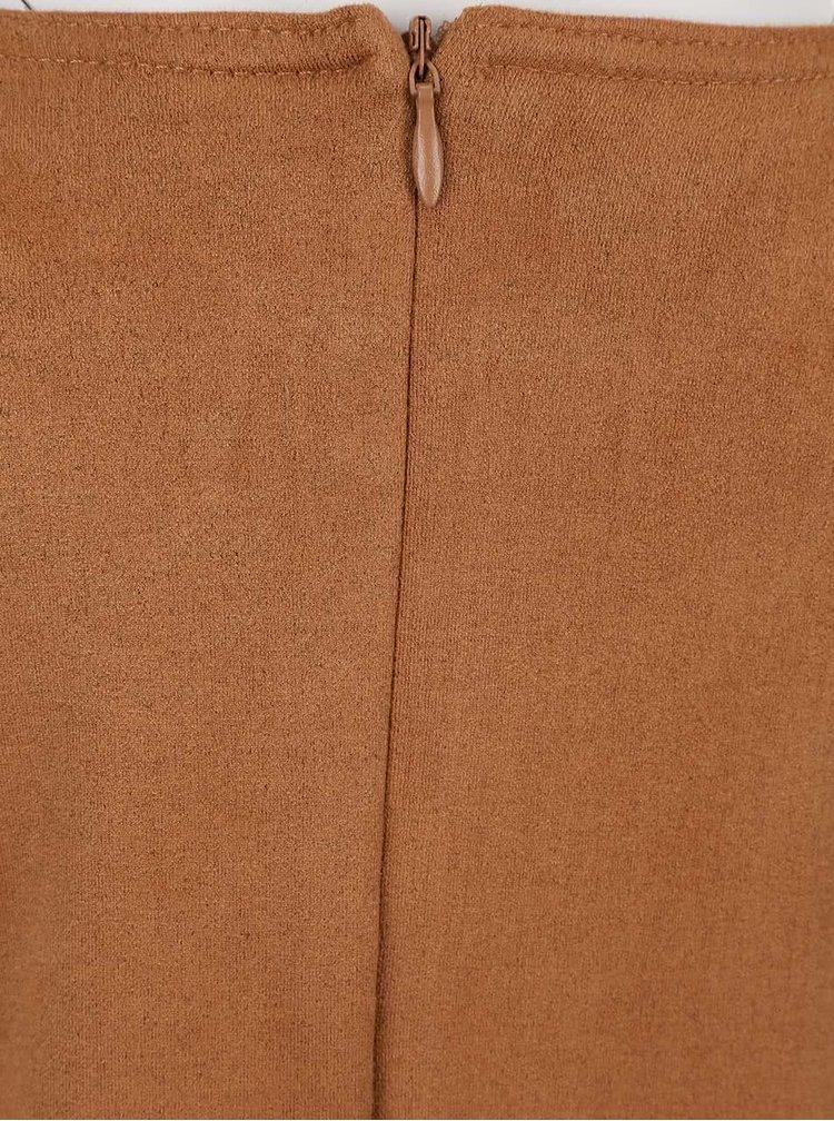 Hnědé holčíčí šaty v semišové úpravě s třásněmi Blue Seven