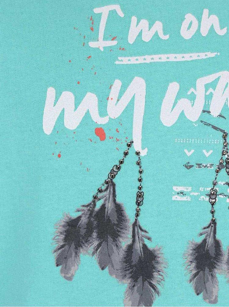 Bluză cu imprimeu Blue Seven turcoaz