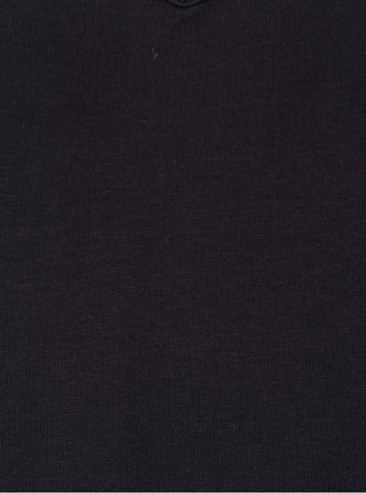 Čierne dlhé voľnejšie tričko s 3/4 rukávmi VERO MODA Anna