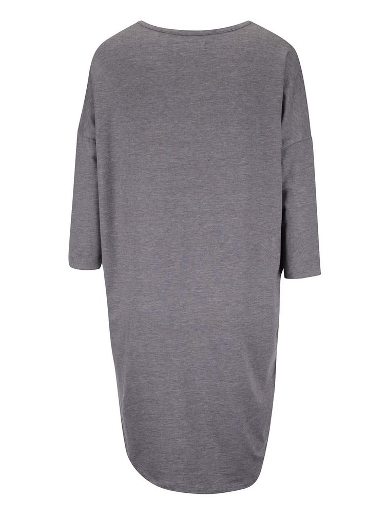 Sivé dlhé voľnejšie tričko s 3/4 rukávmi VERO MODA Anna