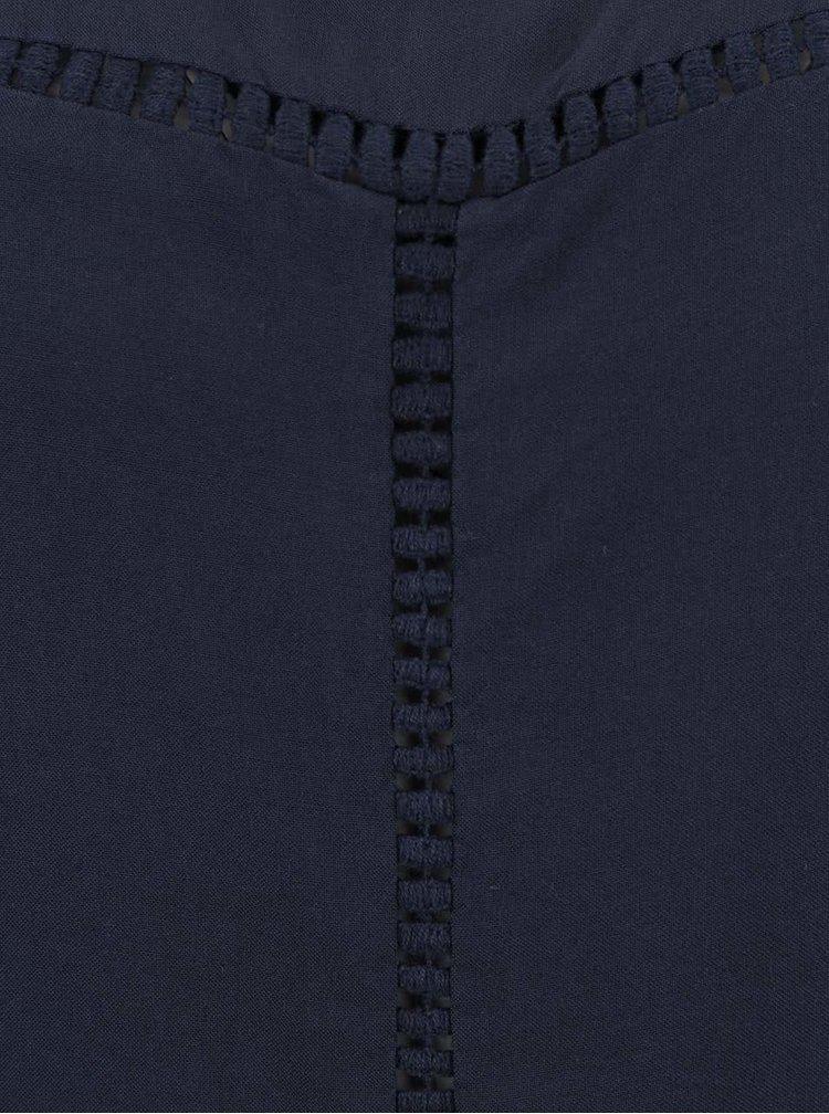 Tmavě modrá volnější halenka s krátkým rukávem VERO MODA Tee