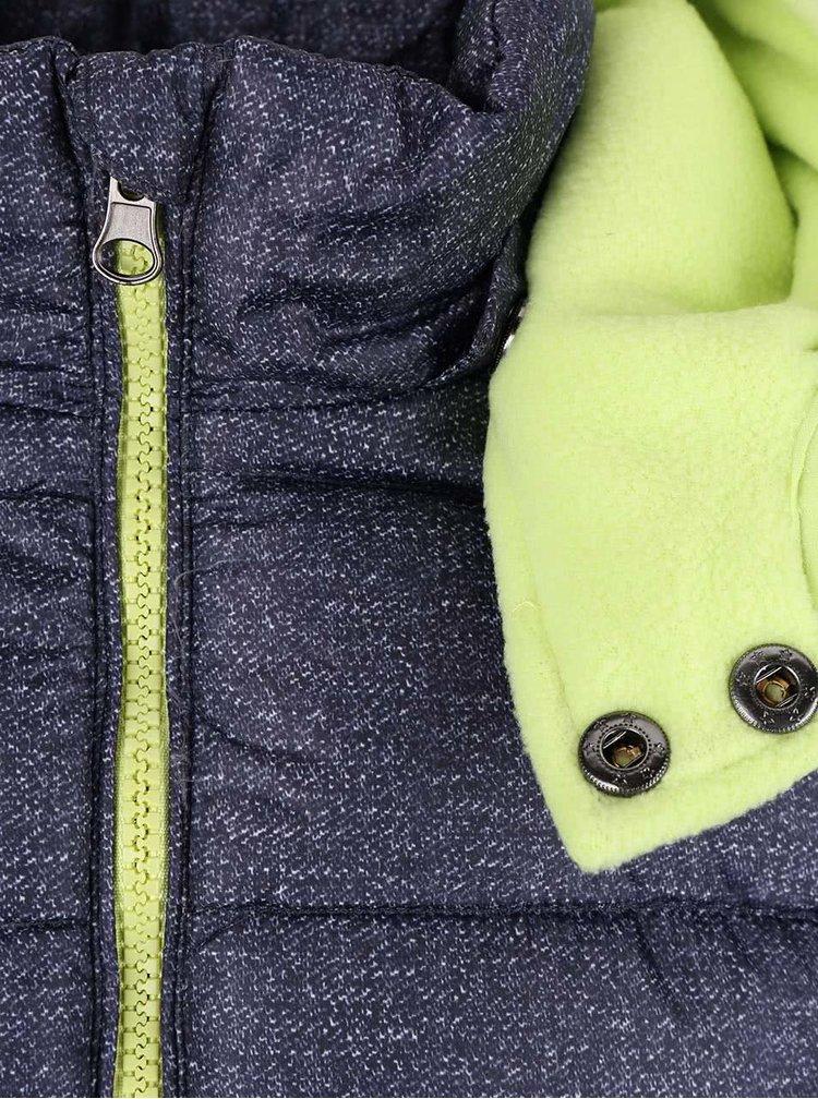 Tmavomodrá melírovaná chlapčenská prešívaná bunda s kapucňou Blue Seven