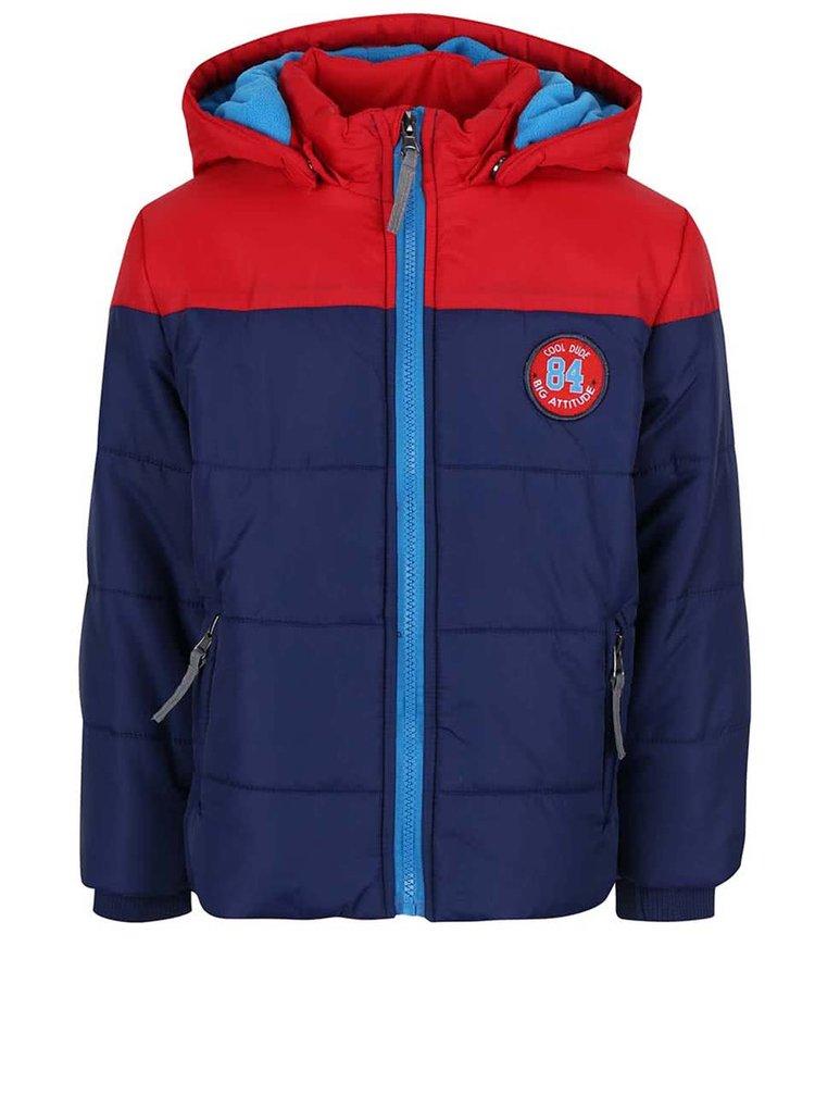 Červeno-modrá klučičí prošívaná bunda s kapucí Blue Seven