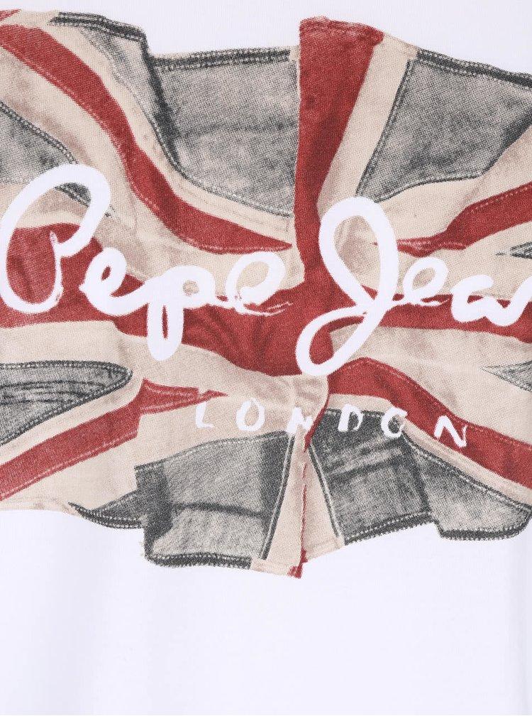 Tricou alb Pepe Jeans Flag logo din bumbac