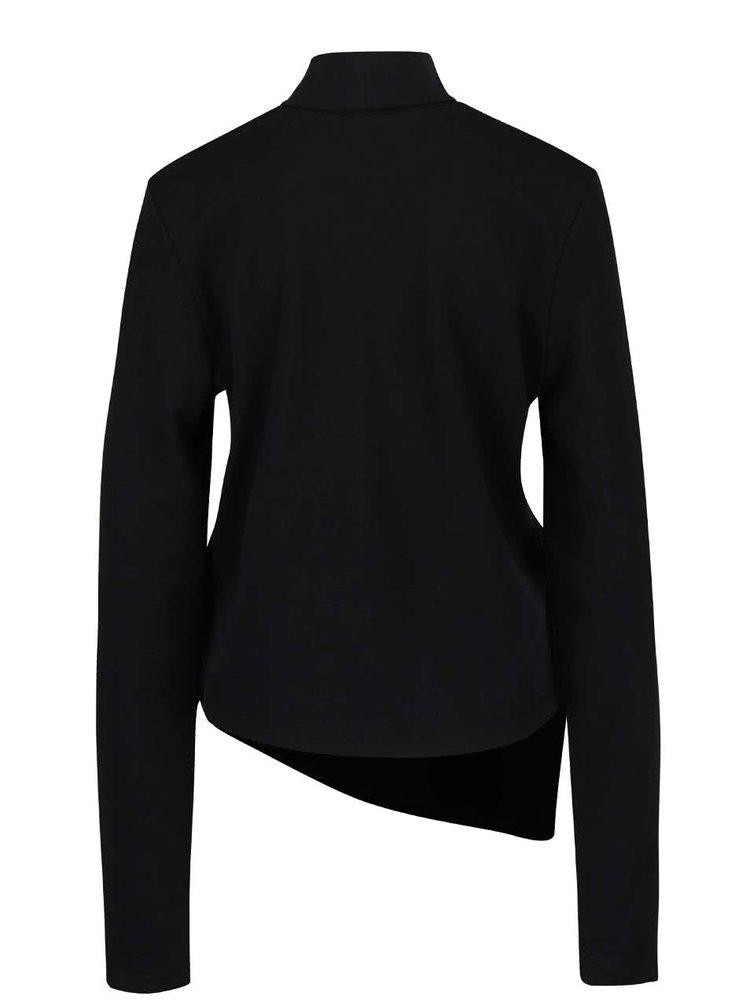 Černá dámská žíhaná asymetrická mikina s rolákem Cheap Monday Valid