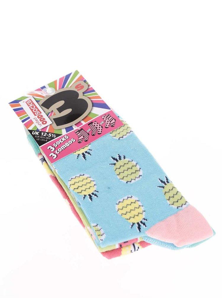 Kolekcia troch farebných dámskych/dievčenských ponožiek s motívom ovocia Oddsocks Kitschy